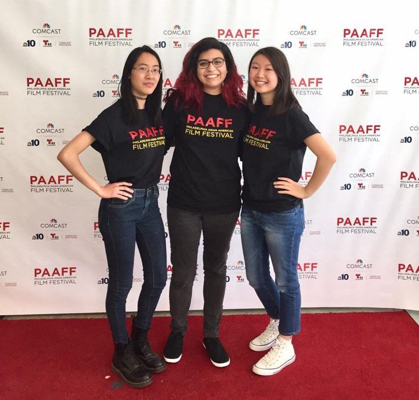 Film Series members Eda '19, Co-Head Kristal '17, and Kellie '19 volunteering at the Asian American Film Festival